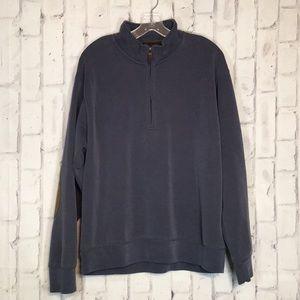 Orvis Mens Blue Quarter Zip Pullover Sz L